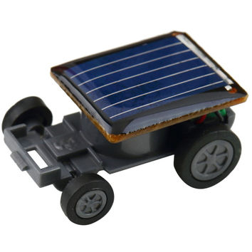 Smallest Funny Mini Solar Powered Robot Auto Car Toys for Children Kids - Black