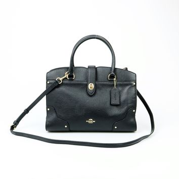 Coach Mercer Black Leather Satchel