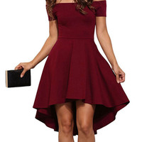 2017 Summer Women Elegant Cocktail Party Dresses Slash Neck Off Shoulder Skater Dress Formal High Low Dresses