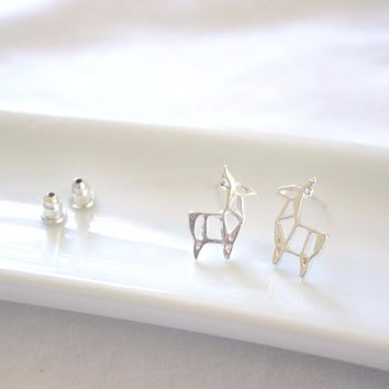 Silver Geometric Deer Earrings Cute Reindeer Earrings Fawn Antler Jewelry Gift