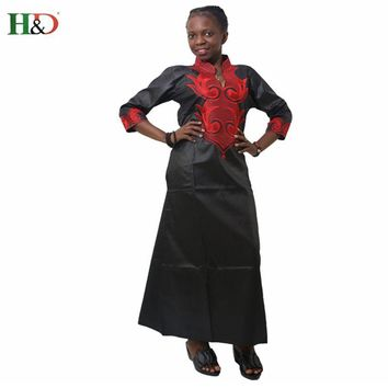 H&D New african dresses for women Dashiki Dresses bazin riche traditional african clothing Long Sleeve For ladies without scarf