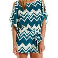 Ivory Combo Cold Shoulder Chevron Print Romper by Charlotte Russe