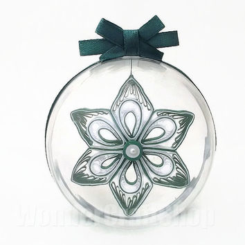 paper snowflake, christmas ball, hanging ornament, green christmas decoration, quilled ornament, xmas decor, christmas tree ornament, xmas