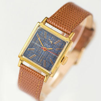 Checkered face lady's watch Ray, gold plated women's watch, square wristwatch her, navy face women's watch rare, premium leather strap new