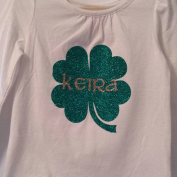 Personalized St. Patrick's Day Shirt Iron-On, St. Patrick's Day Shirt Glitter Iron-On, Monogrammed St. Patrick's Day Shirt