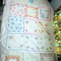 On reserve for korihagerud1 Shabby Chic Vintage Hankies Made into Throw Quilt for Bedroom or Livingroom