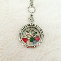 Large 30mm stainless steel silver Mimi memory locket For Mom with choice of stainless steel chain