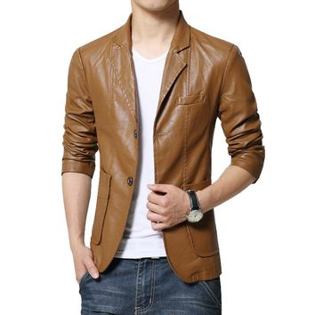 Faux Leather Blazers Men Fashion Khaki Slim Fit Coats Solid Color PU Man Jackets Plus Size M-7XL Casual Brand Blazer Masculino