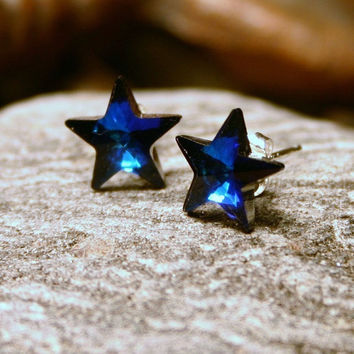 Blue Star Stud Earrings ... Paradise City ... Royal Navy Bermuda Swarovski Crystal ... Sterling Silver Post ... Celestial Gifts Under 20