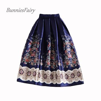 BunniesFairy 50s Vintage Hepburn Elegant Women Ethnic Boho Retro Flower Floral Print High Waist Midi Skirt Navy Blue Plus Size