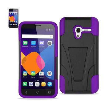 New Alcatel OneTouch PIXI 3 Hybrid Heavy Duty Case With Kickstand In Purple Black