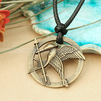 Hunger Games--adjustable black hunger games necklace with  Mockingjay pendant and Katniss arrow inspired by The Hunger Games