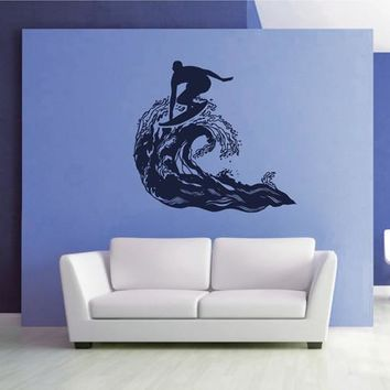 ik2590 Wall Decal Sticker wave surfing board sports shop stained living room