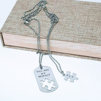 You Are My Perfect Fit, Boyfriend Gift, Dog Tag and Puzzle Necklace, Husband Gift, Forever and Ever