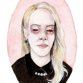 Cordelia American Horror Story Coven watercolor portrait illustration PRINT Sarah Paulson