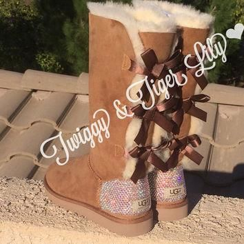 NEW - Chestnut TALL Bailey Bow Uggs With Swarovski Crystal Bling Embellishment - Cryst