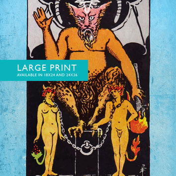 Tarot Print The Devil Retro Illustration Art Rider Print Vintage Giclee on Cotton Canvas and Satin Photo Paper