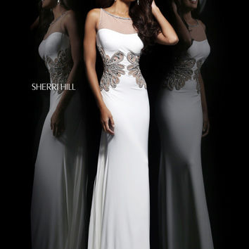 Sheer High Neckline Sherri Hill Formal Prom Dress 11030