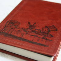 Tea Party  From Alice in Wonderland Altered Journal/Notebook/Diary - Deep Brown Leather Appearance