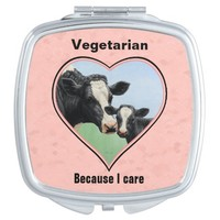 Holstein Cow & Calf Vegetarian Compact Mirrors