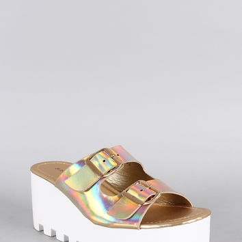 Bamboo Hologram Buckle Lug Sole Platform Wedge