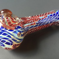 Blue and Red Spiral Swirl Glass Spoon Pipe