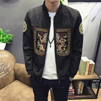 Chinese Dragon Print Slim Fit Casual Jacket
