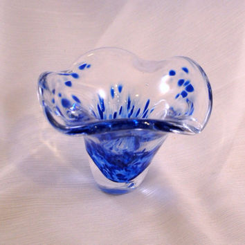 Blown Glass Bowl / Trinket Dish / Ring Bowl in Cobalt Blue