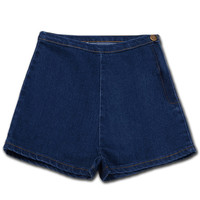 Woman's Summer High Waist Denim Shorts Slim Ripped Skinny Hot Tight A Side Button Pom Jeans Short
