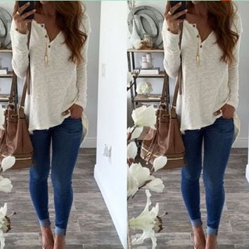 Stylish Long Sleeve V-neck Casual White Tops T-shirts [9745467727]