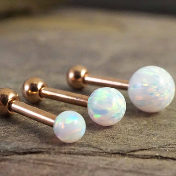 White Fire Opal Rose Gold Stud Cartilage Earring Tragus Helix Piercing