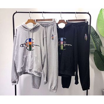 Champion Fashionable Women Men Casual Embroidery Hoodie Top Sweater Pants Trousers Set Two-Piece