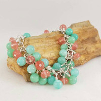 Jade and strawberry agate bracelet, boho jewelry, fashion accessory, jewelry, holiday jewelry, body novelties