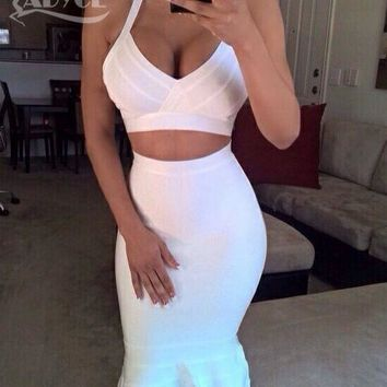 2017 New Summer Women Party Bodycon Bandage Dress Backless Dress Black White Nude Red Two Piece Set Fishtail Club Dress Dropship