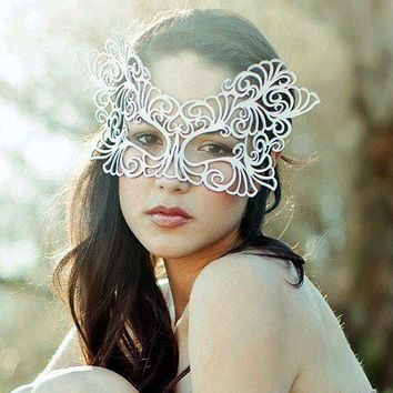 Rococo leather mask in White