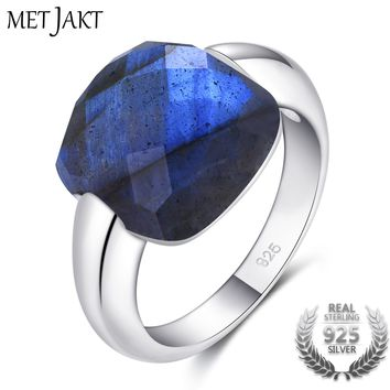 MetJakt Authentic Natural Gemstone Square Blue Labradorite Stone Solid 925 Sterling Silver Rings for Women's Fine Jewelry