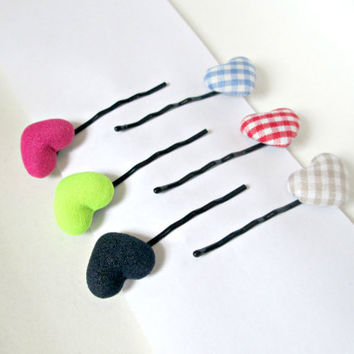 Fabric button bobby pin-heart button hair pin-bobby clip -check pattern bobby pin-girls bobby pin-baby bobby pin-kids clips-set of 6 clips