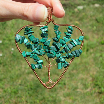 malachite heart tree of life pendant necklace,wire wrapped jewelry,wire tree of life,malachite pendant,malachite necklace,january birthstone