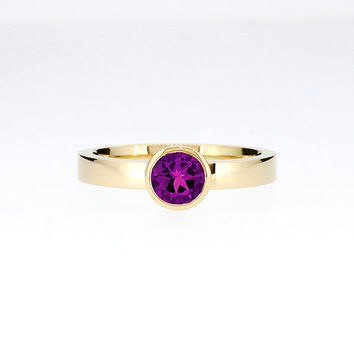Amethyst engagement ring, yellow gold, solitaire, bezel engagement ring, simple Amethyst ring, purple engagement, yellow gold solitaire