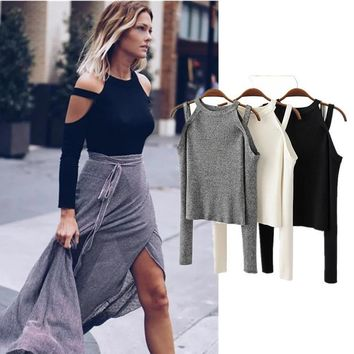 Sexy Off  Shoulder  Women Top  Long Sleeve Strap T-shirt [11604750868]
