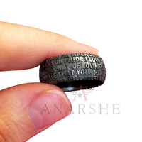 Message ring, black silver text message ring, any words silver ring