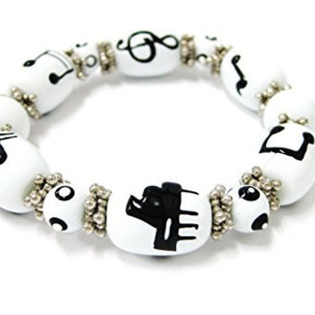 Linpeng Fiona Hand Painted Glass Beads Stretch Bracelet, Piano Music Notes