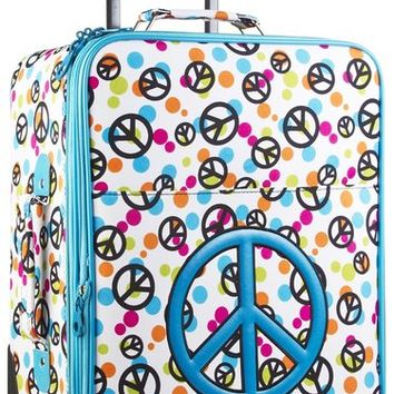 Ever Moda Blue Peace Sign 20-inch Expandable Carry On Rolling Luggage