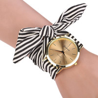 New Arrive Girls Ladies Women's Watches Fashion Casual Stripe Fabric  Bracelet Watch 3 Colors Sweet  Women Dress Wristwatch