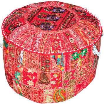 Red pouf Ottoman Maroon Bohemian Embroidered pouf Footstool floor pillowsTuffet bean bag furniture Indian pouf foot stool chair cover pouffe