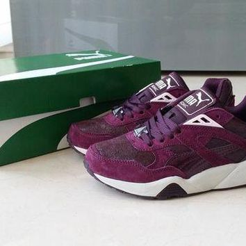 DCCKIJ2 Puma Trinomic R698 Crackle Suede Running Sport Casual Shoes Sneaker Wine Red