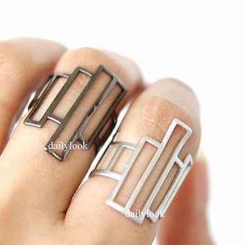 square ring, adjustable ring, man ring, geometric, square, geometric jewelry, unique ring, stretch ring, cool ring, minimalist ring