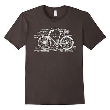 Vintage French Diagram of a Bicycle T-shirt Tee