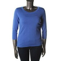 August Silk Womens Knit 3/4 Sleeves Pullover Sweater