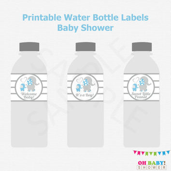 Blue Elephant Water Bottle Labels, DIY Printable Baby Shower Decor, Blue Elephant Baby Shower Boy, Instant download Blue Gray Elephant ELLBG